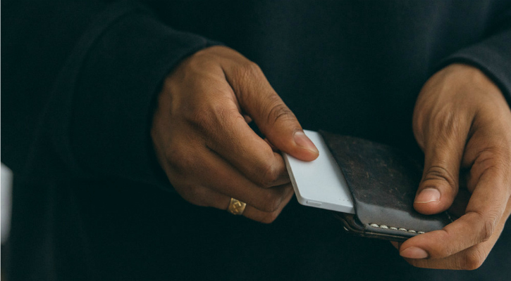 The Light Phone slips into your wallet when not needed