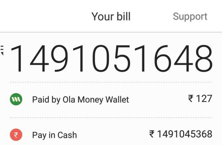 Ola 149 Crore Bill