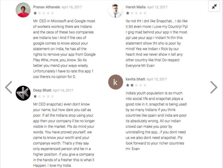 Snapchat Rating on Google Play Store