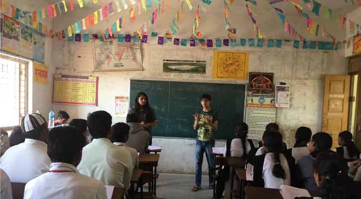Simran and volunteer