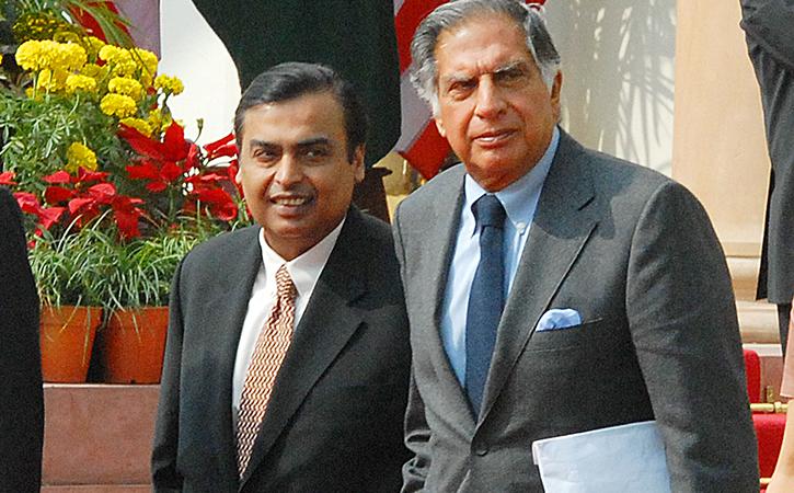 Mukesh Ambani and Ratan Tata