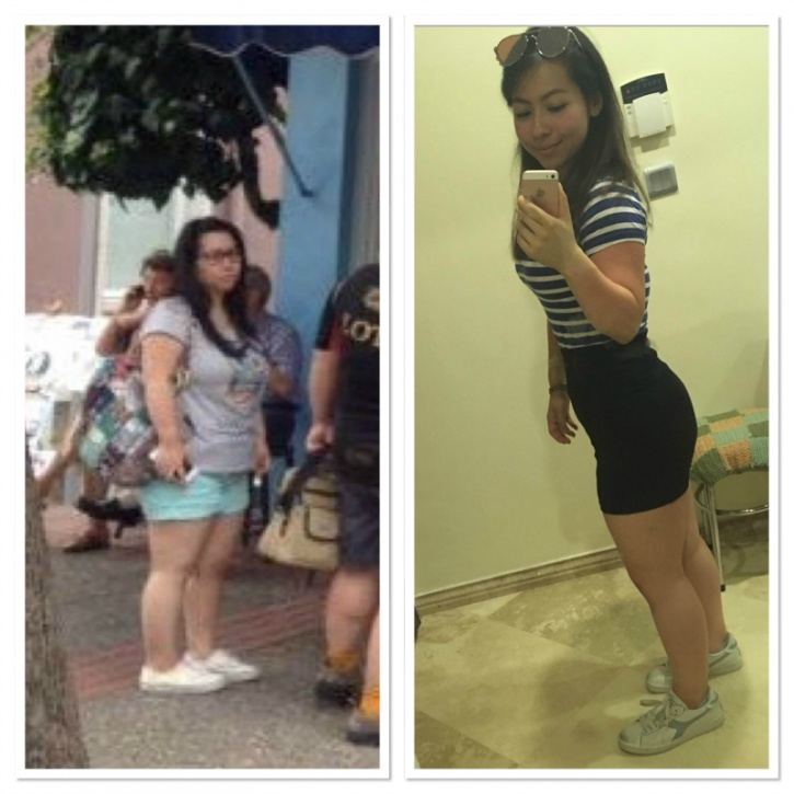 She started adjusting her eating habits to the point where her meal consisted largely around a major source of protein (chicken, fish, eggs, yogurt, protein shakes/bar) and veggies.