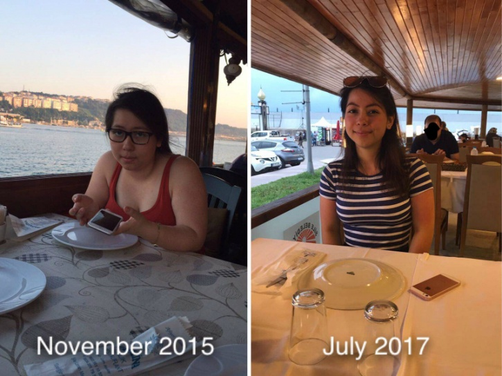 """This 20-year-old woman who goes by the name of melephants on her Imgur account put up images of her stunning transformation after she lost 30lbs (14 kilos). The 4ft 10"""" woman who once weighted 143lbs, who now weighs 110lbs, transformed herself through cleaning her diet and increases her activity levels."""