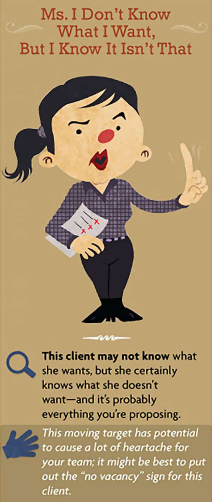 Working in the client servicing industry can be challenging given the stressful environment we work under and the kind of temperamental people we put up with. You know what we're talking about if you've ever worked in advertising. Even if you haven't as long as you've worked alongside some painful bosses or even co-workers you're bound associate with the varied 'temperaments' we are referring to.  The staff Coplex, given their experience in handling a variety of clients, has put together a guide of 15 such specimens that most of us have probably come across. But that's not all. There's also enough instructional advice on how to deal with these mercurial characters the next time you come face-to-face with one.
