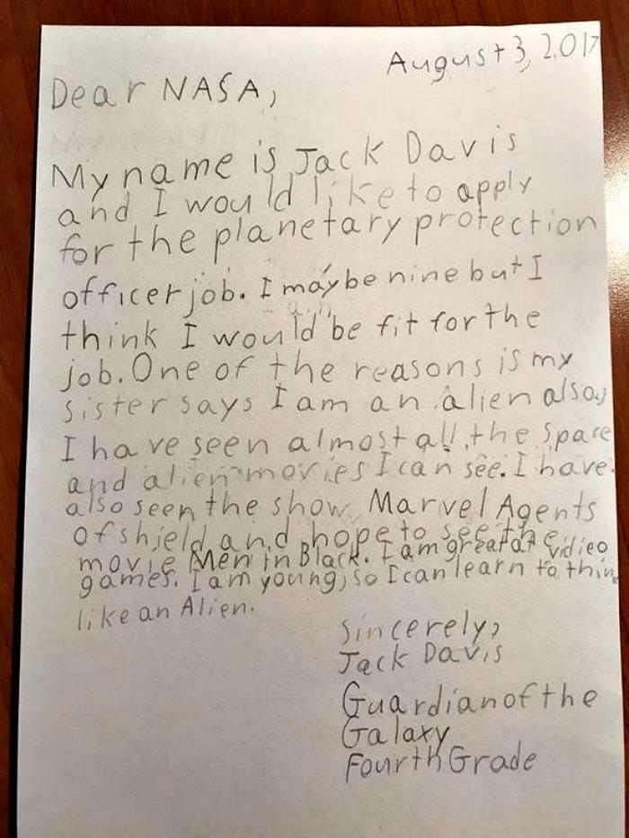 9-yo boys writes to NASA