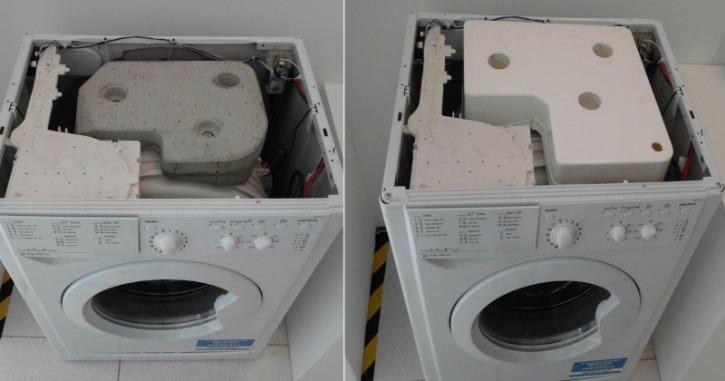 Washing machine concrete block