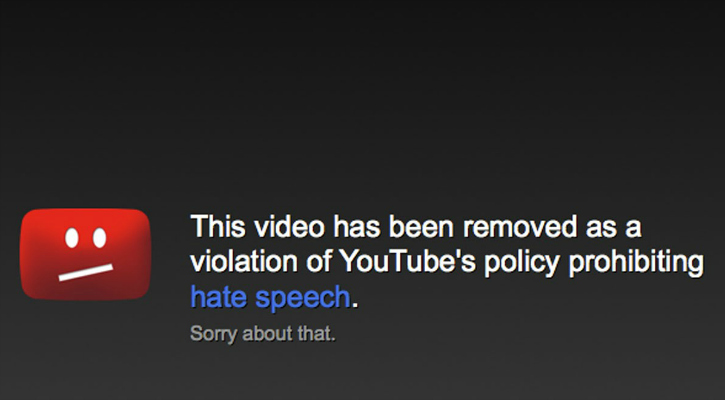 Youtube policy prohibiting hate speech