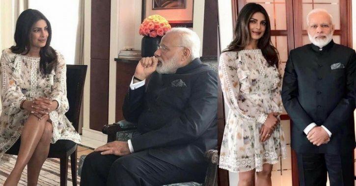 A picture of Priyanka Chopra meeting with PM Narendra Modi.