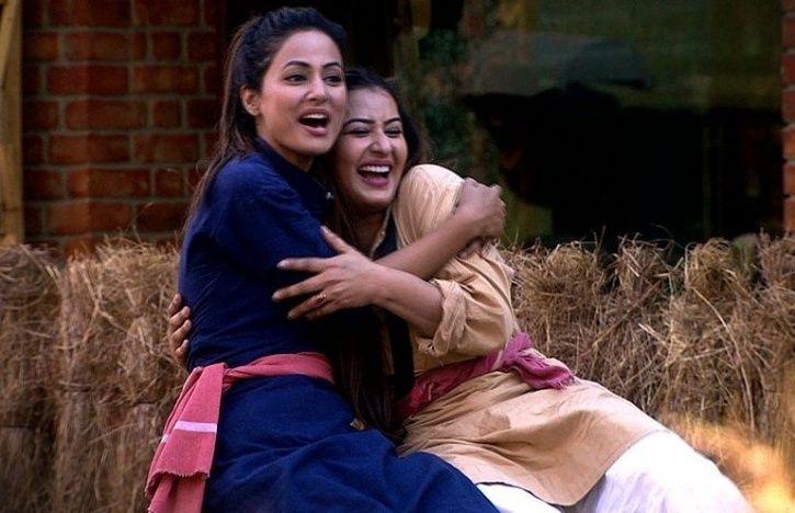 A still of Hina Khan hugging Shilpa Shinde from Bigg Boss 11.