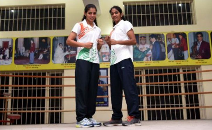 GOLD MEDALLISTS SAKSHI AND NEETU AT BHIWANI BOXING CLUB IN BHIWANI