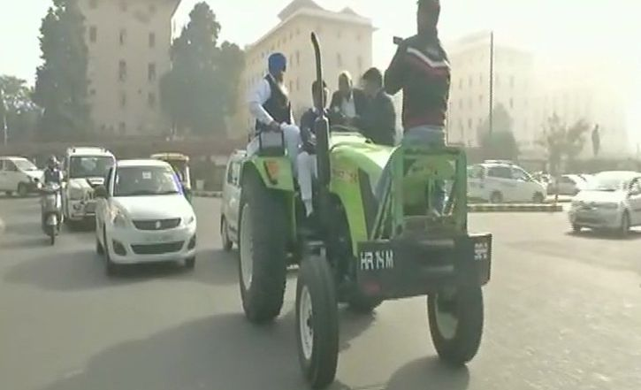 INLD MP Dushyant Chautala Rides Tractor To Parliament