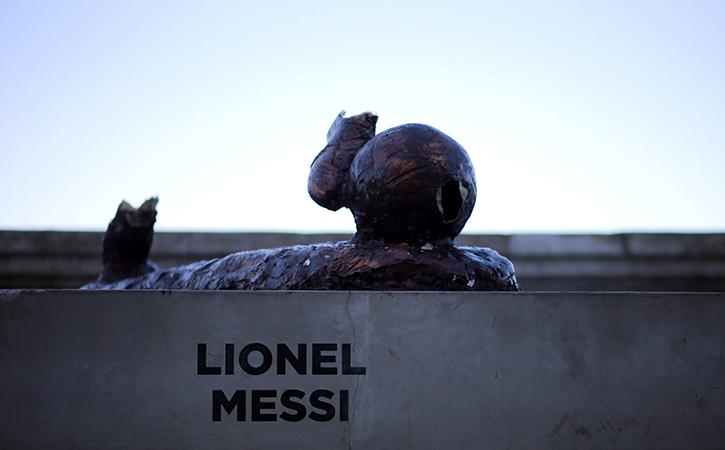 Lionel Messi statue vandalised