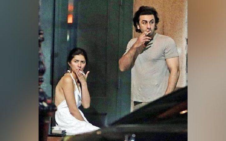 Ranbir Kapoor and Mahira Khan smoking together.