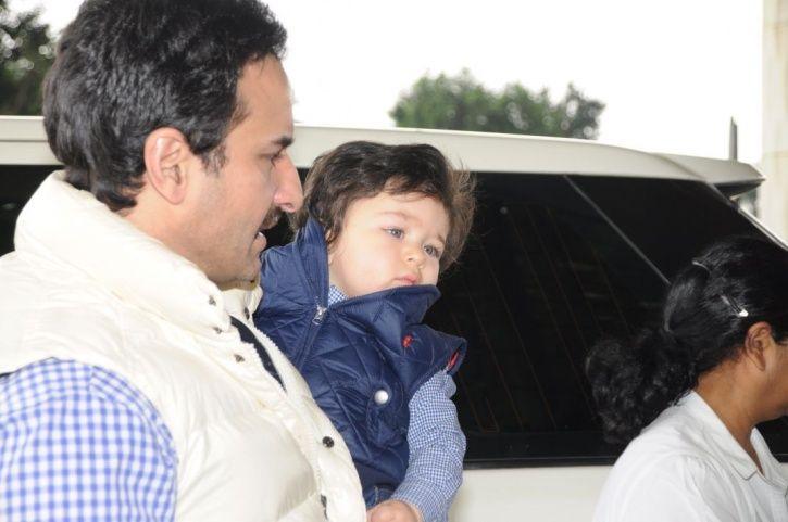 Taimur Ali Khan with Saif Ali Khan and Kareena Kapoor at the airport.