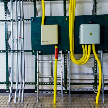 The undersea telecommunication cable is finally linked to a communications and electrical hub