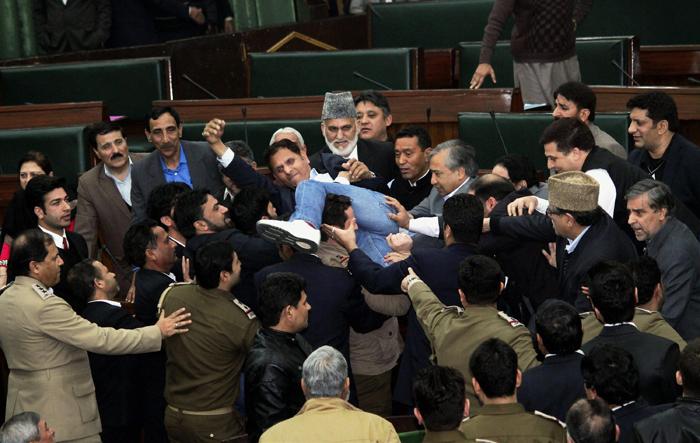 Violent protests in J&K assembly