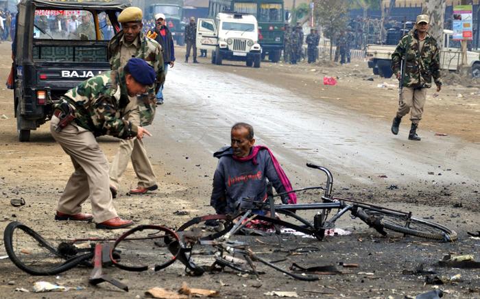 Bomb blast site in Imphal India