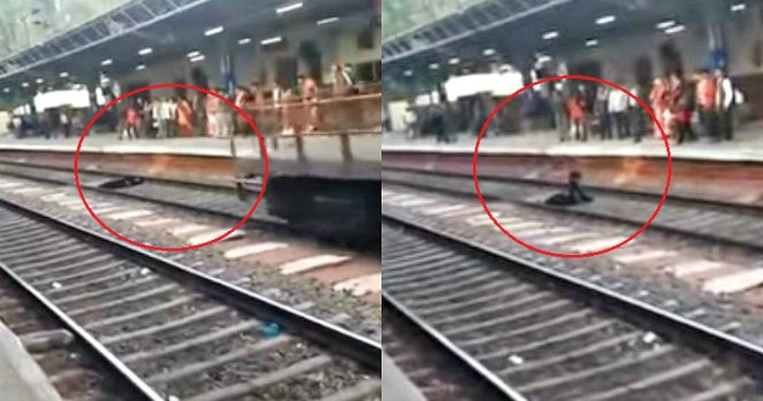 woman survives after a train runs over her