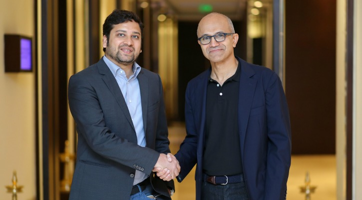 Binny Bansal & Satya Nadella from Flipkart and Microsoft