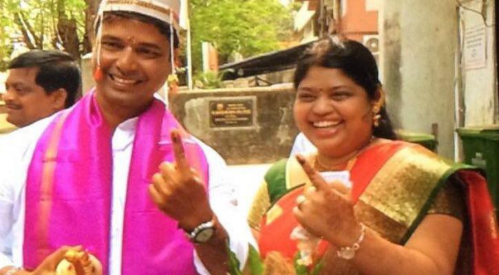 Mumbai Groom Mahesh Navale after voting