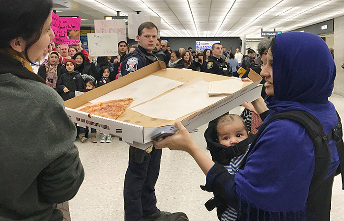 Pizza for protester