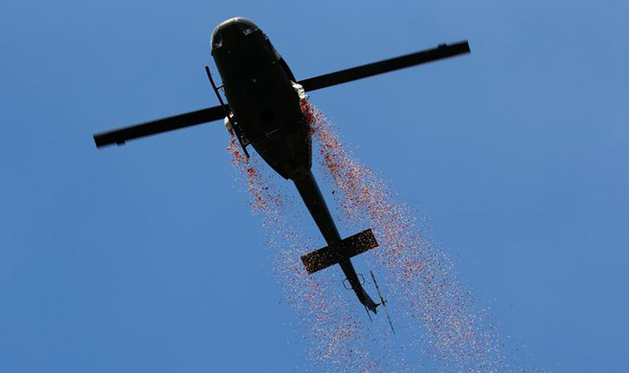 Flower drop from helicopter