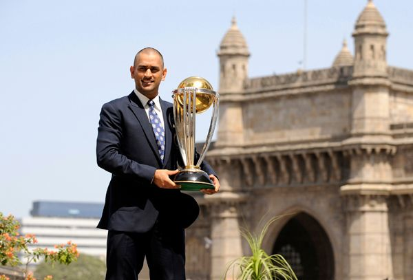 Dhoni with 2011 World Cup title