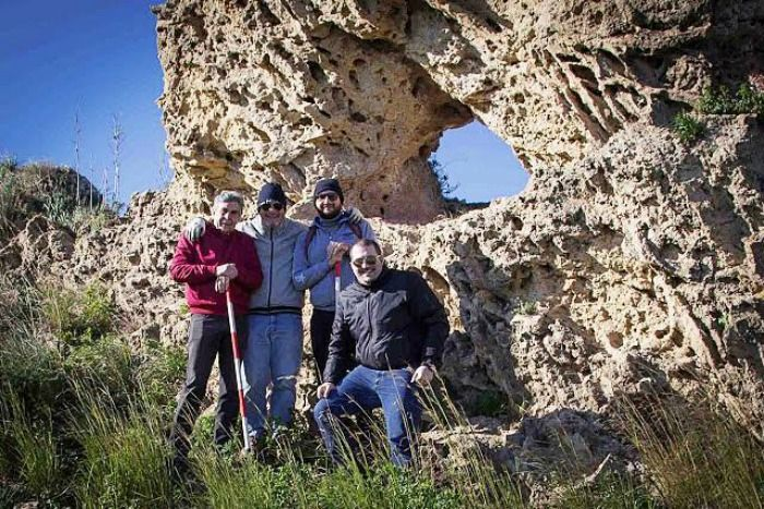 Group of friends who discovered the Italian Stonehenge