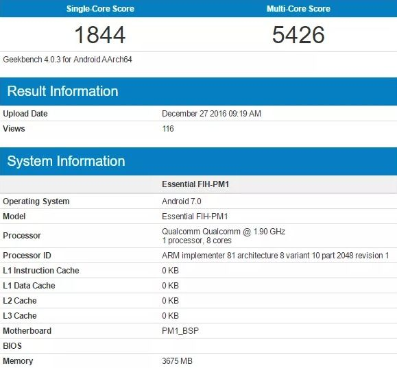 Geekbench Essential FIH-PM1 leaked benchmark