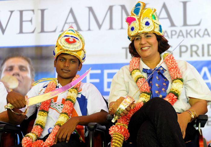 Mariyappan with Deepa Malik