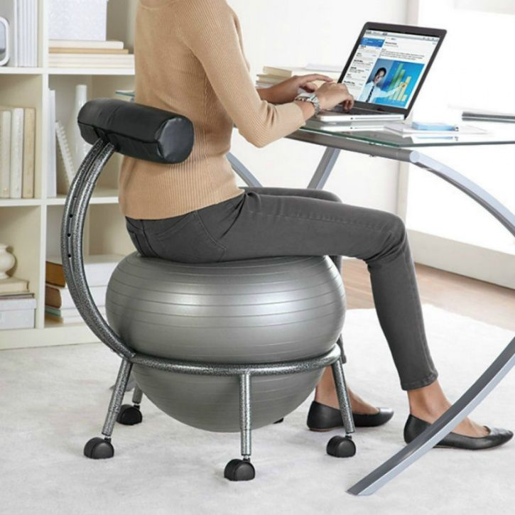 Sit on an exercise ball occasionally to relieve yourself of persistent back pain