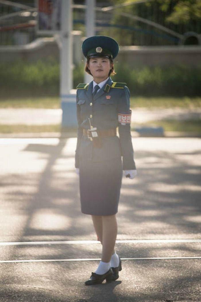 North Korean female traffic cops
