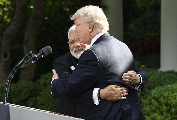 Modi hugs Trump