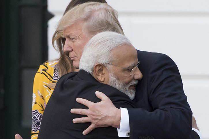 Modi hugs trump. Again