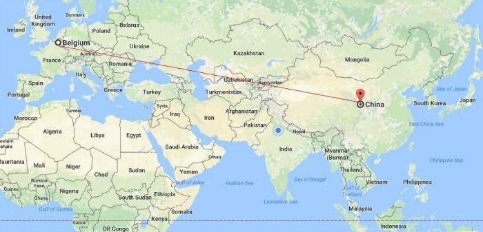 China to Belgium