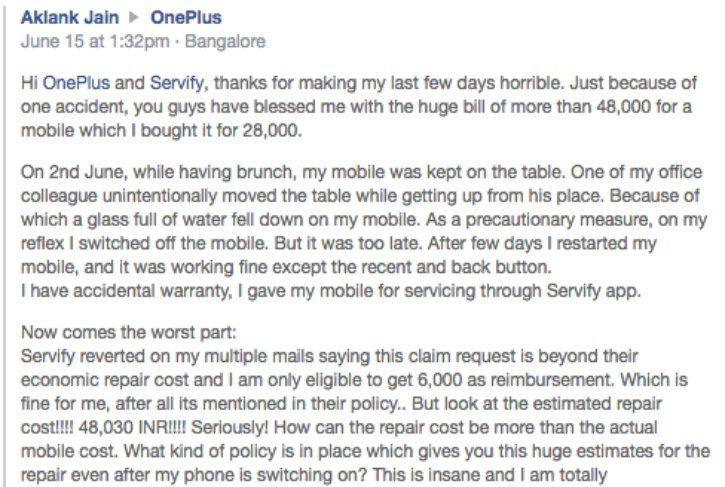 OnePlus 3 Servify Complaint
