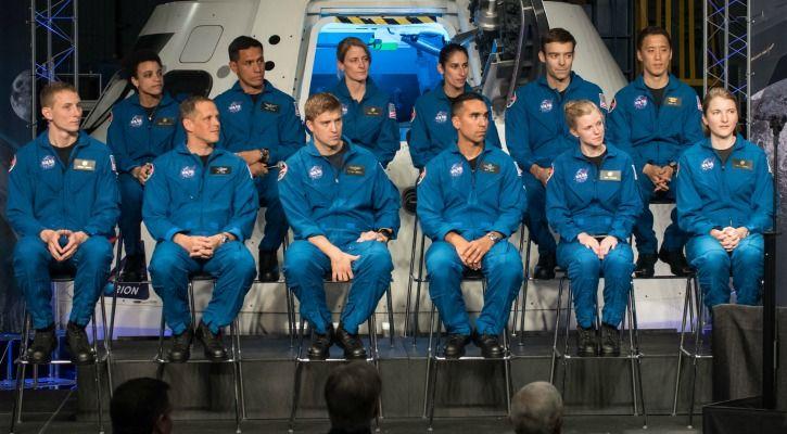 Front row (L-R): Warren Hoburg, Bob Hines, Matthew Dominick, Raji Chari, Zena Cardman, Kayla Barron; Back row (L-R): Jessica Watkins, Frank Rubio, Loral O