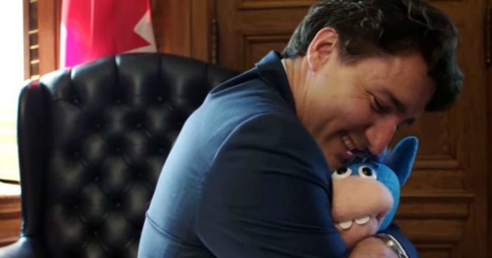 Justin Trudeau hugs Gary