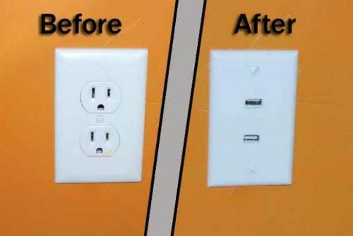 Replace your power outlets with USB power sockets