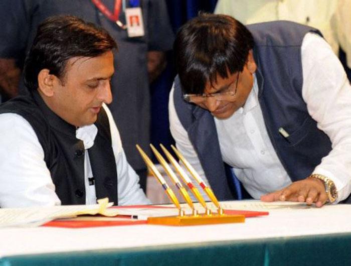 Akhilesh Yadav and Gayatri Prajapati