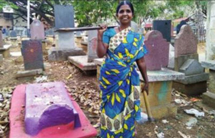 G Channamma at work at the Srirampura burial ground