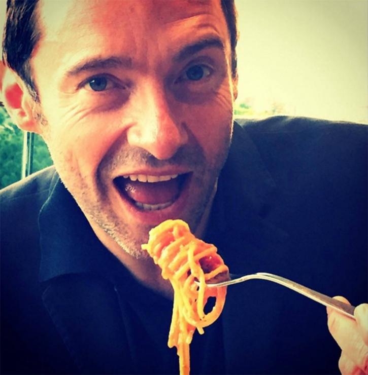 Hugh Jackman eating the food he pleases