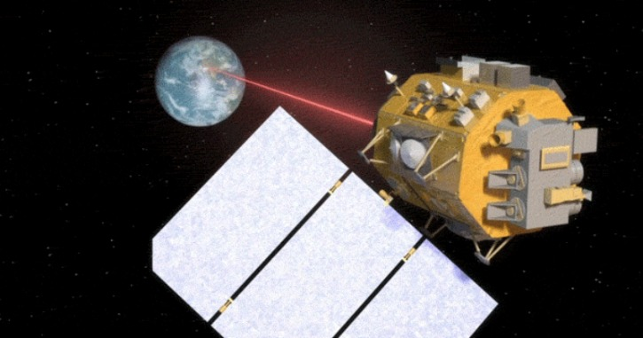 LCRD beaming down a laser signal to earth