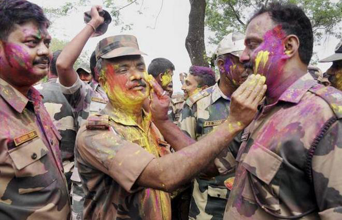 Soldiers Playing Holi