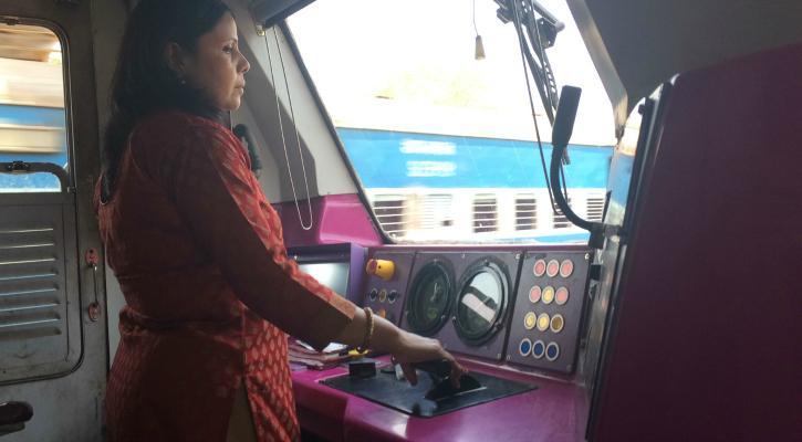 Preeti Kumari in the motorwoman cabin