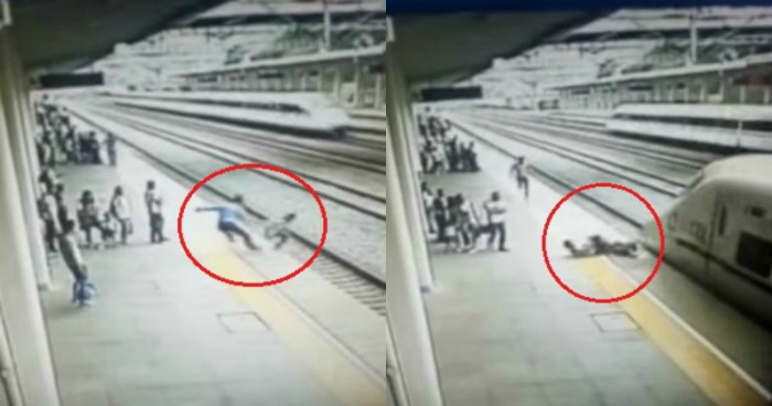 man saves woman from committing suicide in China