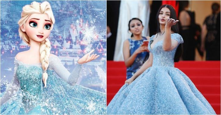 Aishwarya Rai Bachchan at Cannes red carpet 2017, Frozen Princess Isla