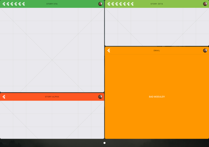 Split screen on tablet with four apps