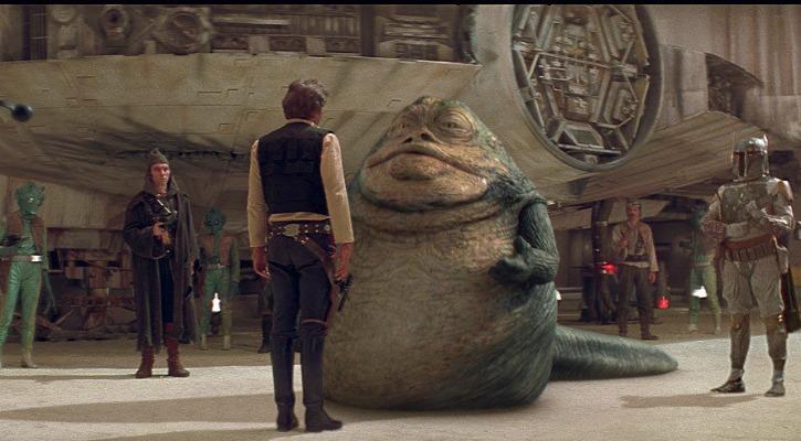 Jabba confronts Han Solo near the Millenium Falcon
