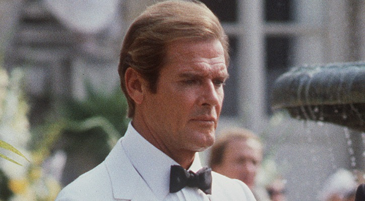 Roger Moore from 1984 on the set of James Bond movie